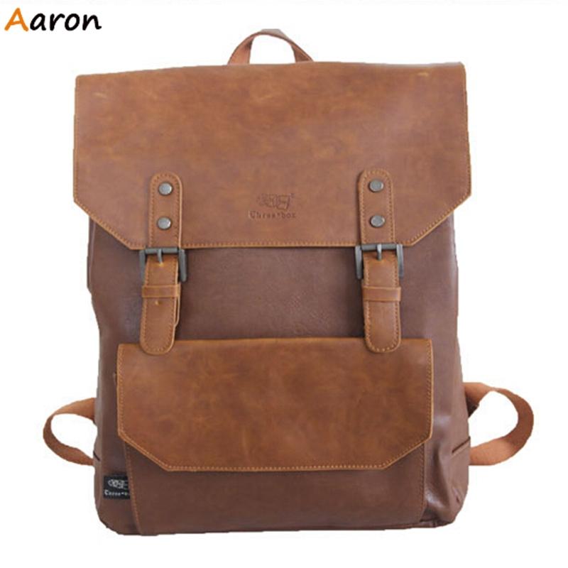 Aaron - Trendy Korean Mens Flip-open Cover Daypacks,Leisure Men Bag With Rivet,Unisex Large Capacity PU Leather Bags For School<br><br>Aliexpress