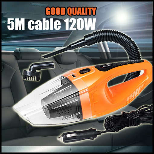 Top quality Car vacuum cleaner wet and dry dual-use super suction 5meters 12v,120W tile car vacuum cleaner free shipping(China (Mainland))
