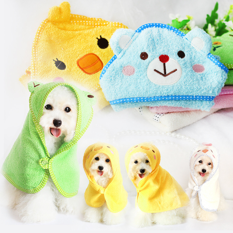2015 Rushed 100% Cotton Clothing For Dogs The New Petstyle Cartoon Cute Little Animal Absorbent Cotton Towel Bathrobe Pet Dog(China (Mainland))
