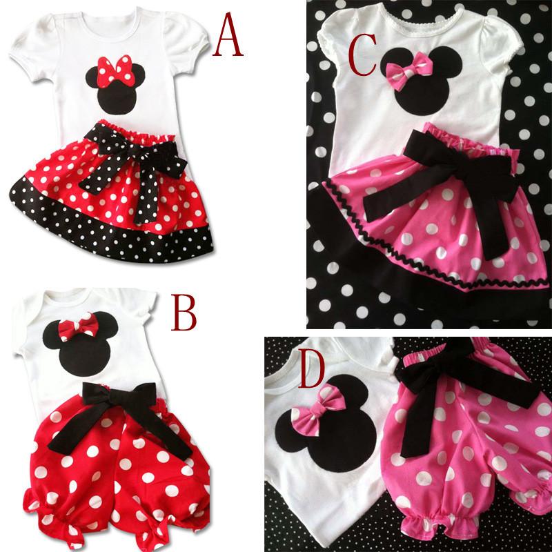 2014 New Summer girls Short Sleeve top + dot pants sets baby girl Minnie dot suit Children t-shirt + shorts set 5set/lot<br><br>Aliexpress