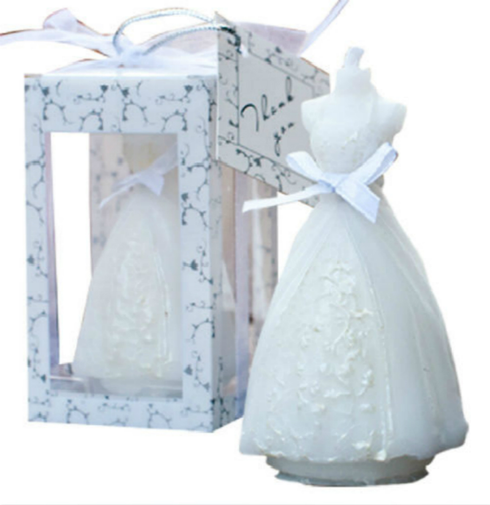 Fd2766 romantic bride dress candle tea light holder with for Box for wedding dress