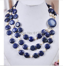 3Rows White Akoya Cultured Pearl & Genuine Coin Lapis Lazuli Jewelry Necklace(China (Mainland))