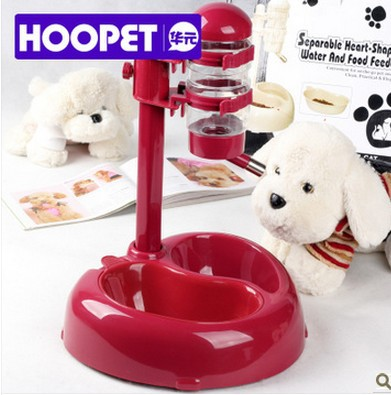 Hoopet High Quality Good Design Separable Heart-Shaped Water and Food Feeder Dog 1 Piece(China (Mainland))