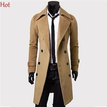 Plus Size Double-breasted Winter Jackets Men Lapel Trench Coats Long Slim Gentleman Woolen Coat Black Brown Grey Outwear 17355(China (Mainland))