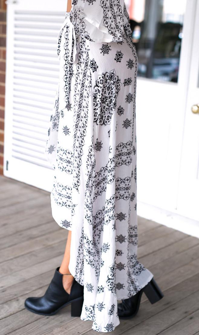 Simplee estilo boho impressão arco assimétrico das mulheres saia longa verão praia maxi saia de algodão do vintage solta flare saias novo