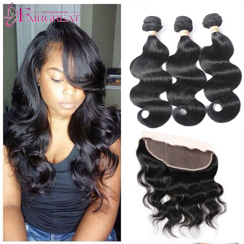 Brazilian Virgin Hair With Closure Body Wave 7A Lace Frontal Weave 3 Bundles With Closure 13x4 Lace Frontal Closure With Bundles(China (Mainland))