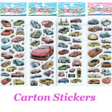 4pcs/lot Cars Cartoon Stickers for Boys and Girls Decorative Cool Famorous Cars Beautiful  Foam Gift Develop Intelligence #ST017(China (Mainland))