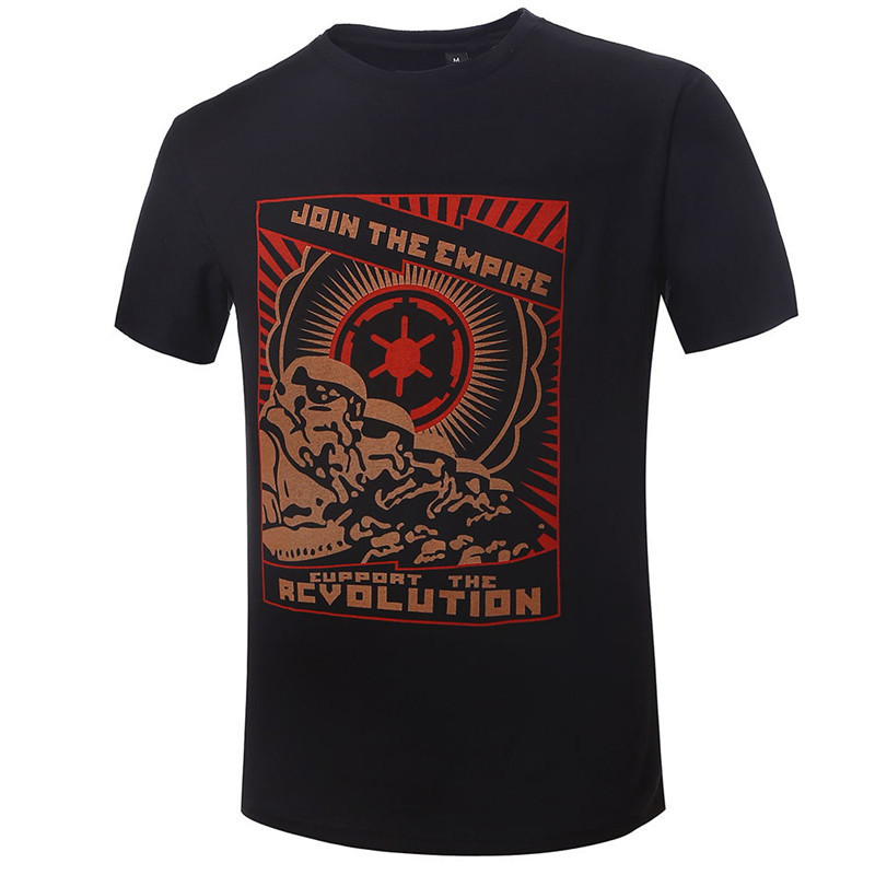 Fashion T Shirt Men Star Wars Revolution Camisa Masculina Shirts Round Neck Top Tees Short Sleeve