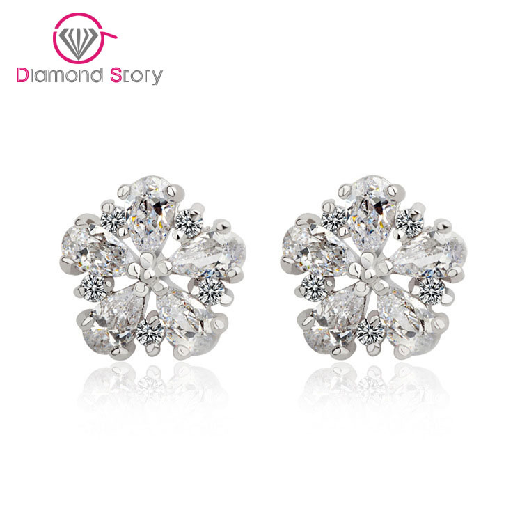 Teemi Factory Wholesale! Flower Earrings May Flower Top Quality Pure CZ Stone Stud Earrings White Gold Plated Small Size Cute(China (Mainland))
