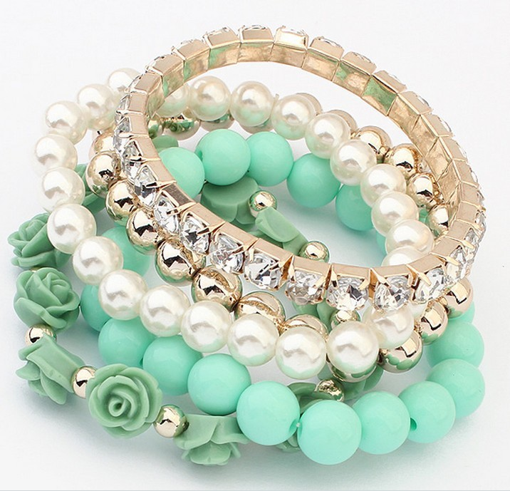 Fashion Jewelry 2015 Trendy Fashion Candy Color Pearl Rose Flower Multilayer Charm Bracelet & Bangle For Women(China (Mainland))