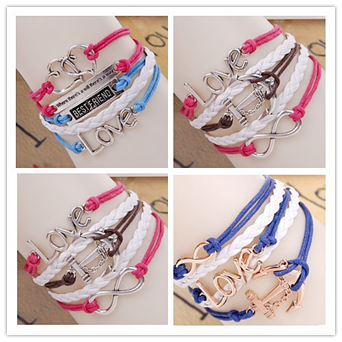 [Min.6$ ] Promotion!!! Various styles leather bracelet women and me