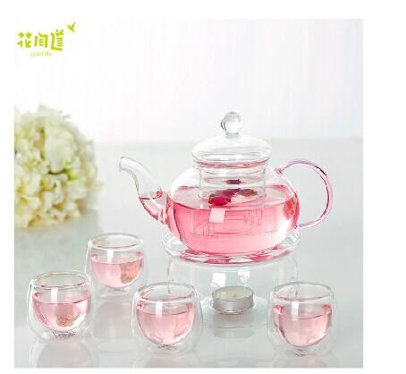 Japan Design High temperature resistance glass teapot set 600ml flower tea pot 1 round shape warmer
