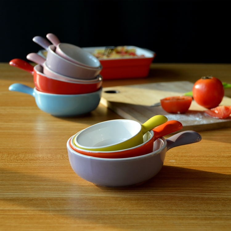 3 pcs set ceramic sauce dish with handle, saucer, color