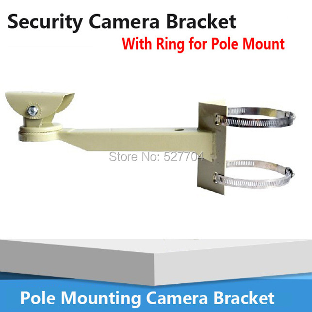 Surveillance Universal Pole Mounting Bracket Arm Base for CCTV Security Camera Bracket With Ring For Pipe LamPost Mount Stand(China (Mainland))