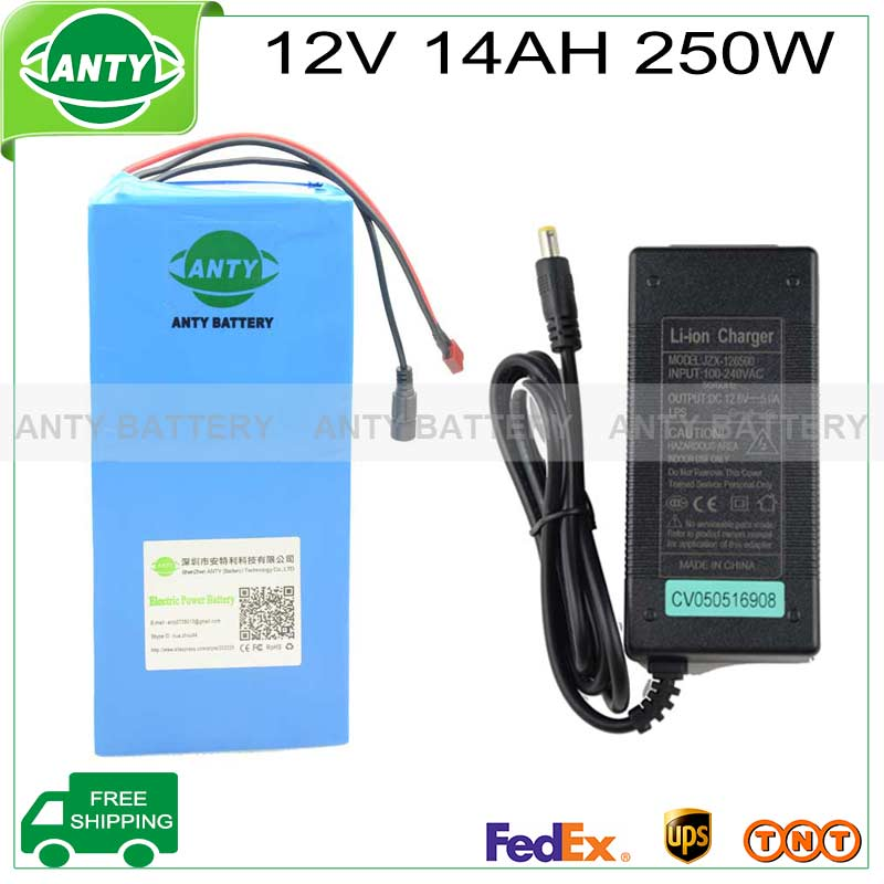 electric bike battery 12v 14ah 250w with 12.6v 5A charger,25A BMS Rechargeable Lithium battery 12v camera power free shipping(China (Mainland))