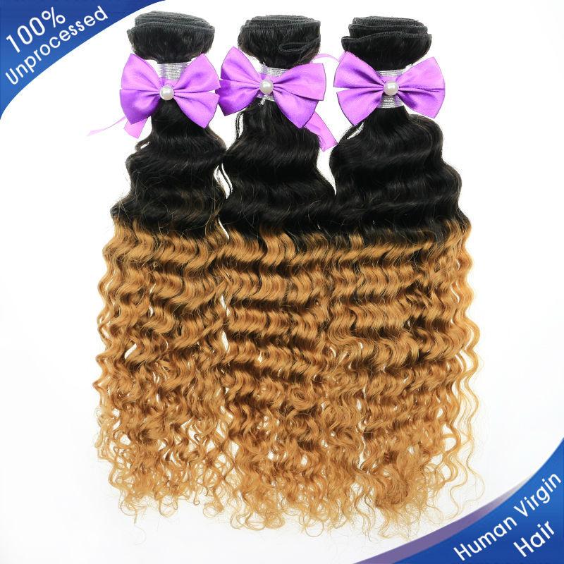 Aliexpress Ombre Hair Extensions  Malaysian Hair Bundles Mixed Length 12''-28''  1B $ #27 ,Malaysian Curly Human Hair Weave(China (Mainland))
