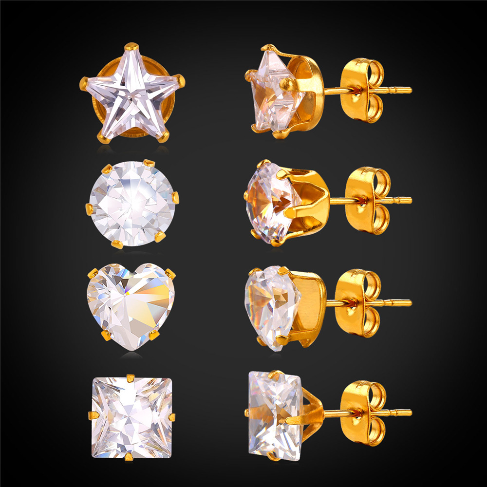 4 pairs/ 1 lot Mixed Star Heart Square Round 8mm Set Women Stud Earrings Crystal GeometricMagnet Earrings Wholesale E2268Y(China (Mainland))