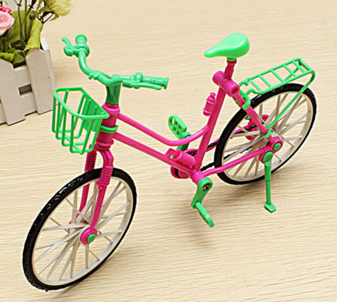 1:6 Kids Toy Dollhouse Plastic Bike Bicycle With Basket For Barbie Dolls Girl's Playing Toy best Gift For Birthday Christmas(China (Mainland))