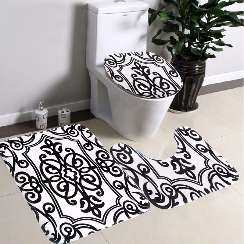 Bathroom Non-slip Contour Rug Set 3Pcs Black White Mix Bath Pedestal Rug Lid Toilet Mat Seat Cover(China (Mainland))