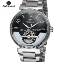 Fsg8070m4s2 Forsining automática uno mismo viento vestido reloj esquelético para hombre con pantalla analógica caja de regalo envío gratis