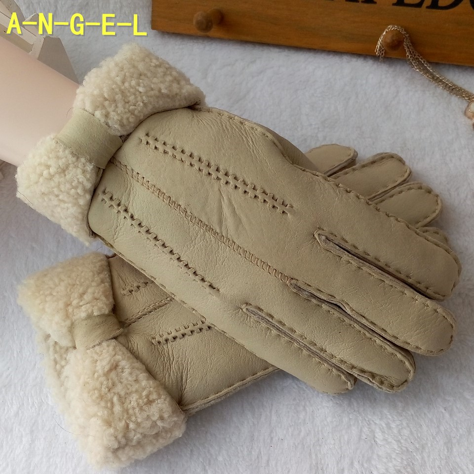 Winter Spring Women's thermal 100% Genuine Leather Gloves Sheepskin Wool Fur One Piece Real Fur thicken Warm Glove F295(China (Mainland))
