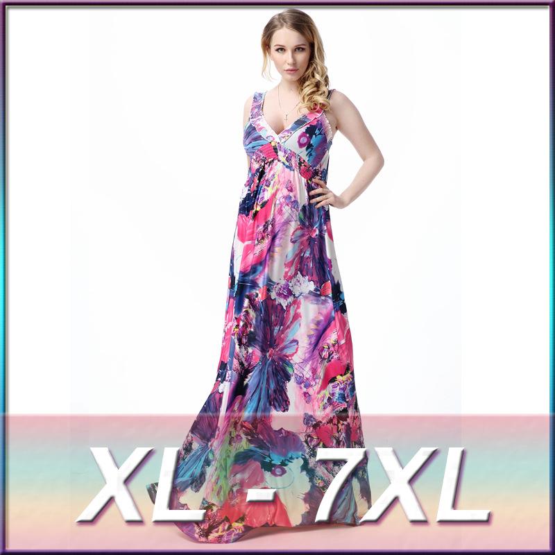 plus size 2016 new European style sexy V neck halter beach dress big yards plus fertilizer
