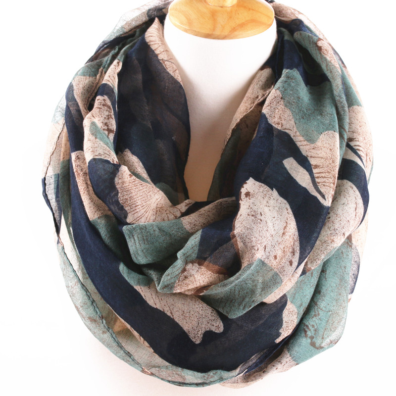 2016 Brand Design 4 Colors Winter Ring Scarf Women Infinity Scarves Elegant big Flower Printed loop Cotton Voile long Scarf(China (Mainland))