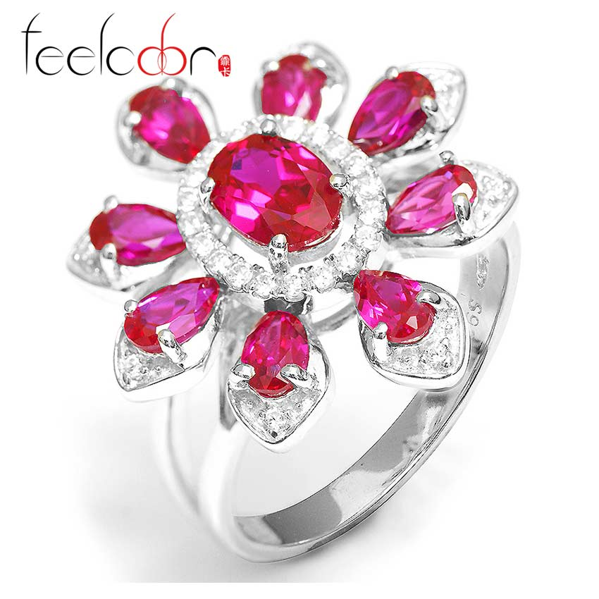 Pigeon Blood Red Ruby Flower Ring 925 Solid Sterling Silver 2015 Brand New Wholesale Fashion Fine Jewelry For Women Best Gift<br><br>Aliexpress