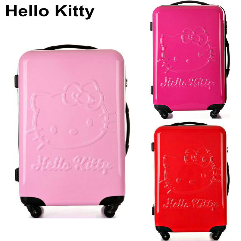 Girls Hello Kitty Cartoon Luggage &Women Travel Suitcase Universal Wheels Trolley Bag 20 inch Rolling - Lzahua Bags Store store