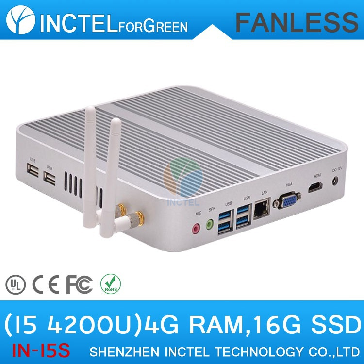Fanless 4K mini pc I5 4200u with Intel Core i5 4200U 1.6Ghz CPU Haswell Architecture SOC design windows Linux(China (Mainland))