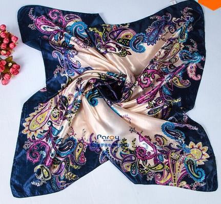 New size 90*90cm satin Square Scarf High Quality Silk Satin Scarves flower Shawl Hijab 2014 fashion style SD-015(China (Mainland))