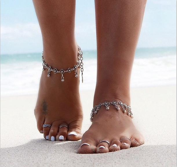 Boho женщины лодыжке браслет браслеты цветочный дизайн ног браслет сеть Tornozele ...