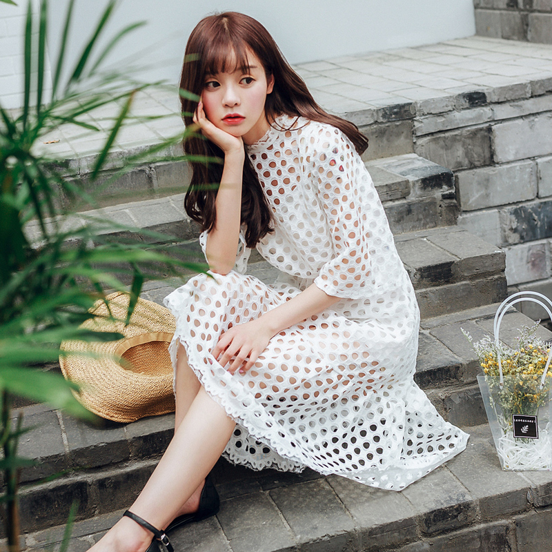 2016 two sets out the summer dress Korean fashion slim Lace Chiffon Suit tee(China (Mainland))