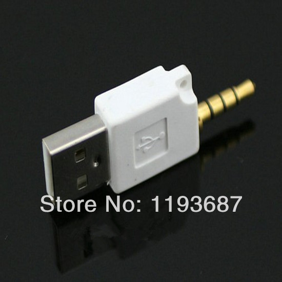 1000pcs Free Shipping USB AM to DC 3.5mm Mini USB Adapter For Pod for iphone,etc. Shuffle 2 Generation