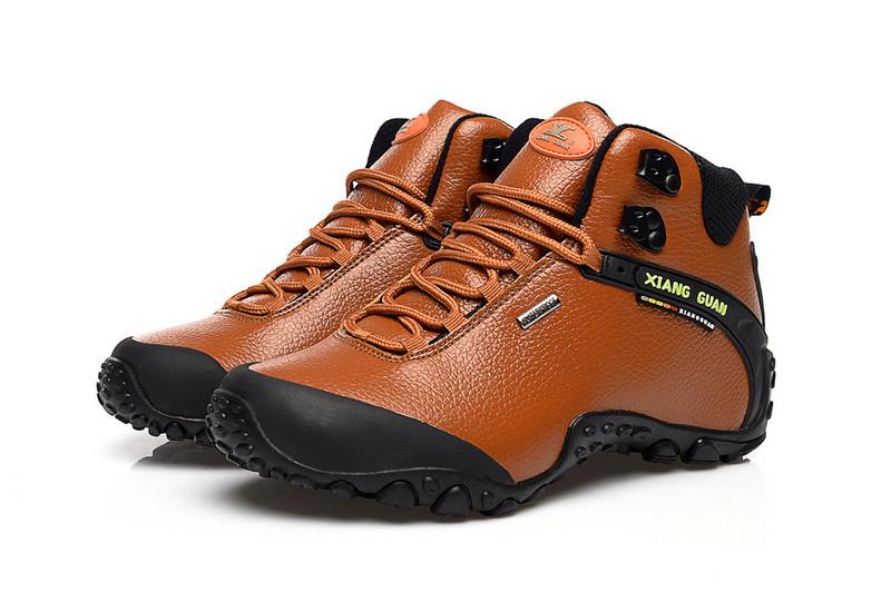XIANGGUAN Man Hiking Shoes Hight Men Leather Trekking Boots Black Waterproof Sports Climbing Shoe Trend Outdoor Walking Sneakers