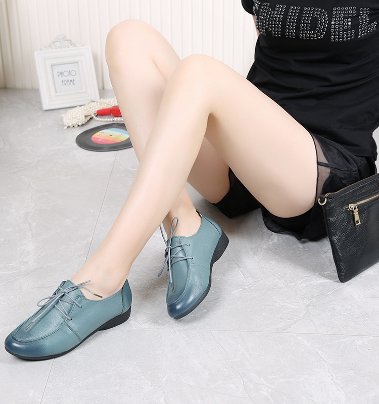 Cowhide Leather Leisure Shoes Lace-Up Soft Bottom Slip Shoes Mother Pregnant Women Shoes 2016 Summer Waterproof Size 41 3 Colors
