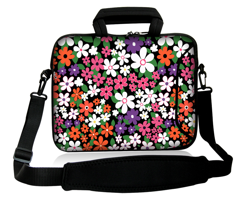 """Small Wildflowers Type 10""""13""""14""""15""""17"""" Laptop Sling Satchel Neoprene Bag Netbook Handle Sash Sling Cover Pouch For Lenovo ASUS(China (Mainland))"""