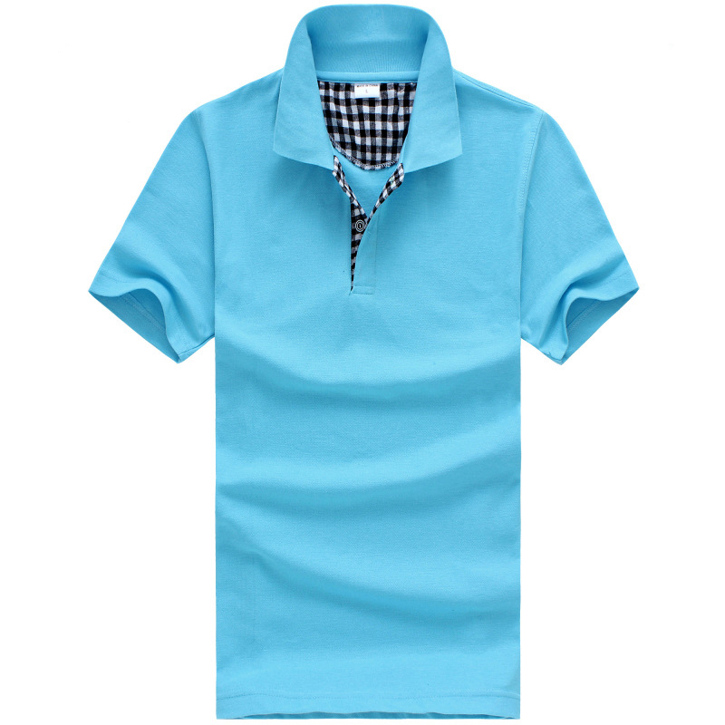 New Men's Casual Polo Shirts Cotton short sleeve lattice Slim Polo Tees Brand Male Golf Sports Shirts plaid Tops Clothes(China (Mainland))