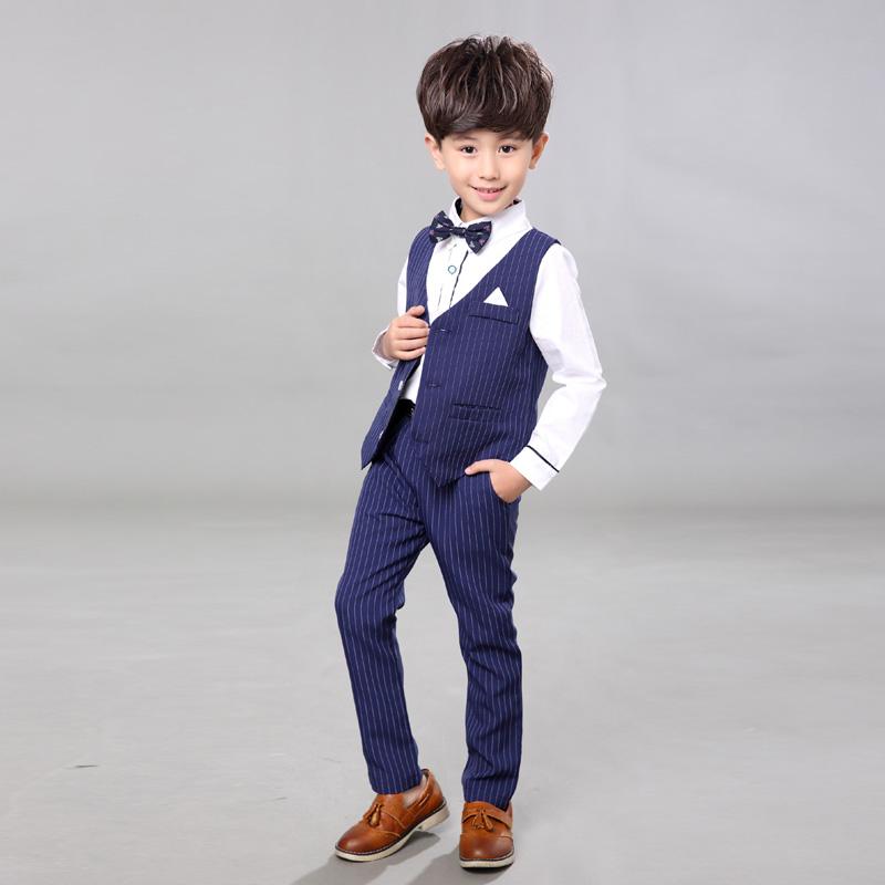 Korean Version of Spring Boys' Attire Wedding Suit Clothes Boys Suits Male Child Formal Dress Set Boy Suit Stripe Vest CY001