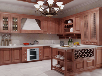 Custom American solid wood kitchen cabinet with solid wood door panel Customed color