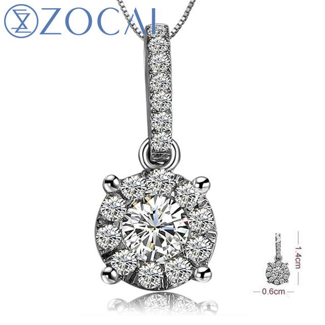 ZOCAI BRAND BRILLIANT LOVE 0.3 CT DIAMOND SOLID 18K WHITE GOLD PENDANT PENDANTS 925 STERLING SILVER CHAIN NECKLACE D00003