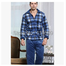New 2015 Winter men thick coral fleece quilted plaid pajama suit male warm tracksuit large lapel plus size sleepwear sets(China (Mainland))