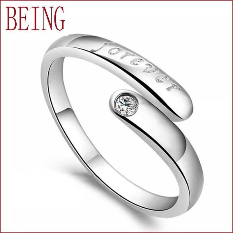 Hot new fashion high-quality senior female jewelry charm always love lettering silver ring inlaid crystal ring wholesale opening(China (Mainland))