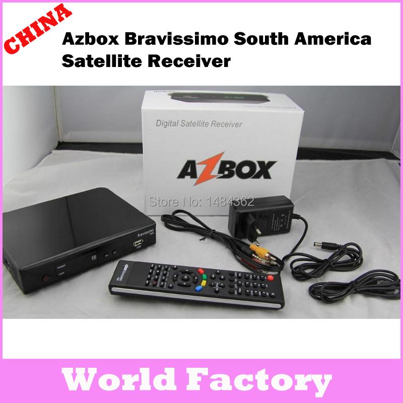 Factory sales Azbox Bravissimo Satellite Receiver Twin Tuner Nagra3 Decoder Az Box Bravissimo HD TV Box For South America(China (Mainland))