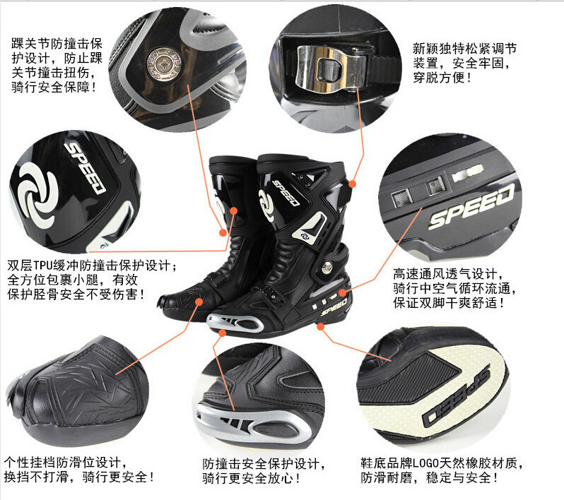 Free shipping PRO-BIKER Speed road motorcycle racing boots shoes knight boots race boots B1005 / black, size 40-45