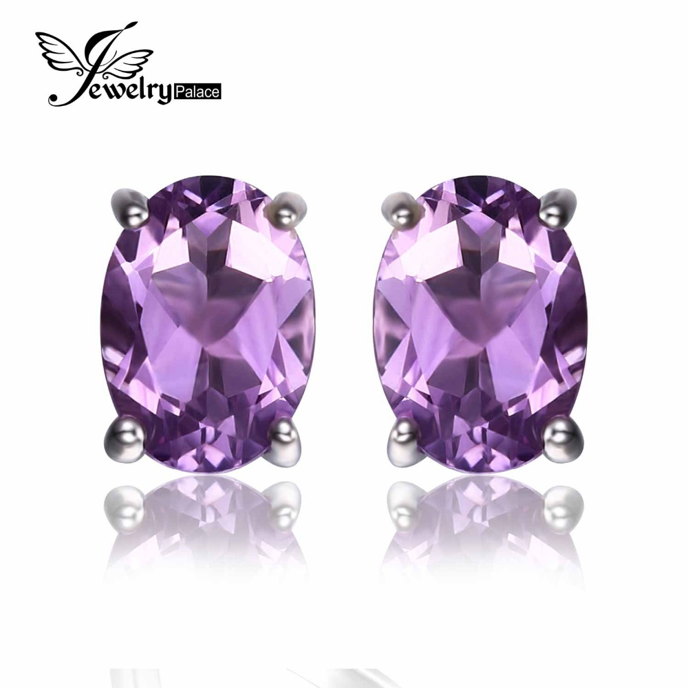 5*7mm Oval Cut Natural Amethyst Earring Stud 925 Sterling Silver Jewelry Women Vintage Fine Jewelry Eternity Peace Earring(China (Mainland))