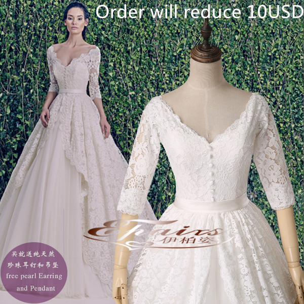 Buy 2015 hot sale vestido de noiva vneck for Zuhair murad wedding dress prices