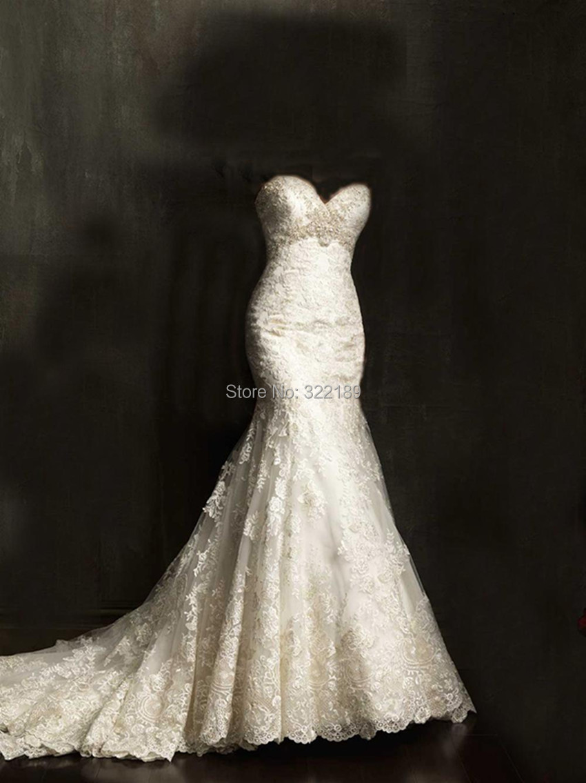 2015 court train gorgeous sweetheart lace mermaid wedding for Sweetheart lace trumpet wedding dress