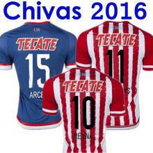 Soccer Jerseys Chivas Guadalajara 2016 White Home Camisas Chivas Guadalajara 15/16 BRAVO ARCE DE NIGRIS SALCIDO Shirts Blue Away(China (Mainland))