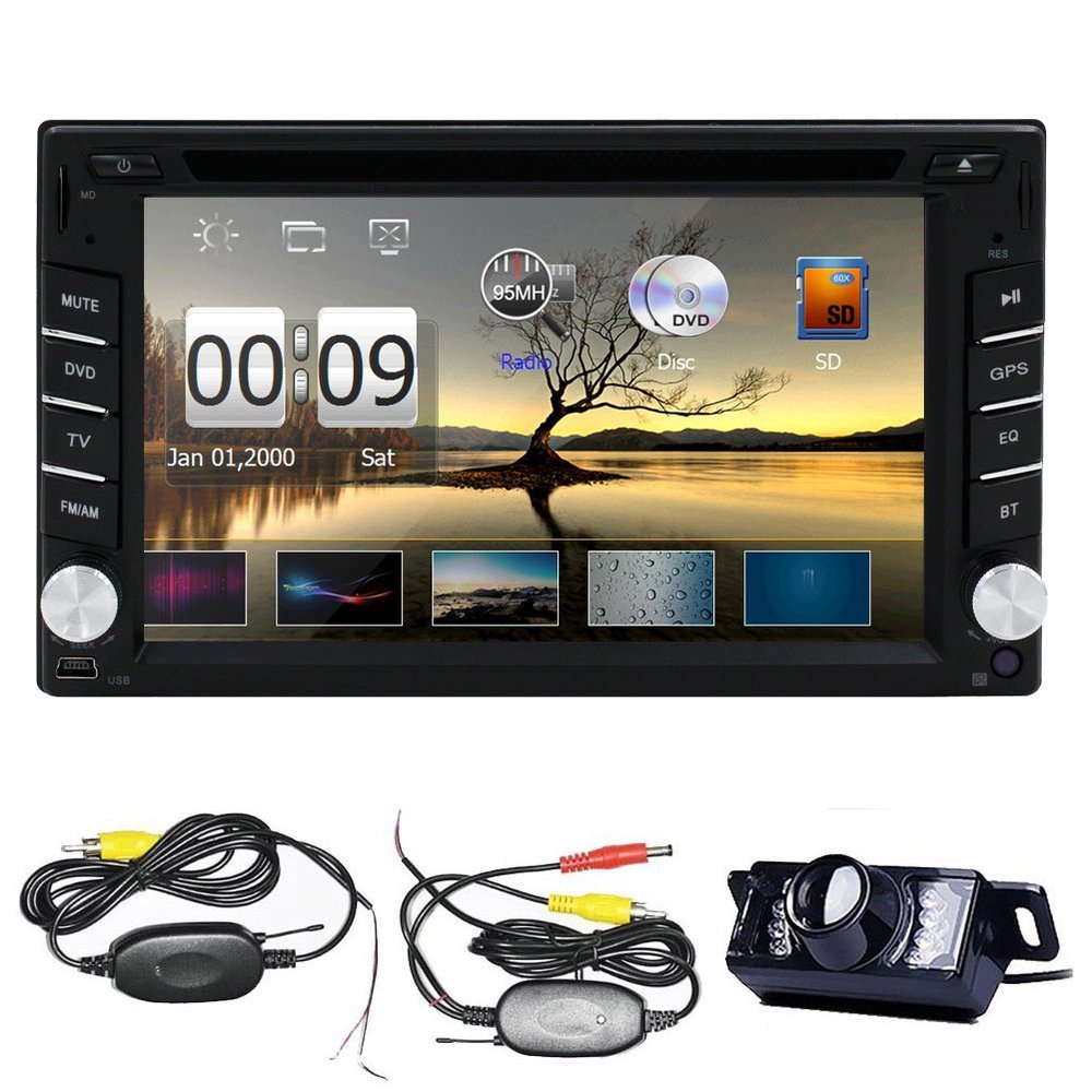 Double Din 6.2inch In Dash Touch Screen Car DVD Player FM/AM Radio Stereo GPS Navi Navigation with Wireless Back Camera(China (Mainland))